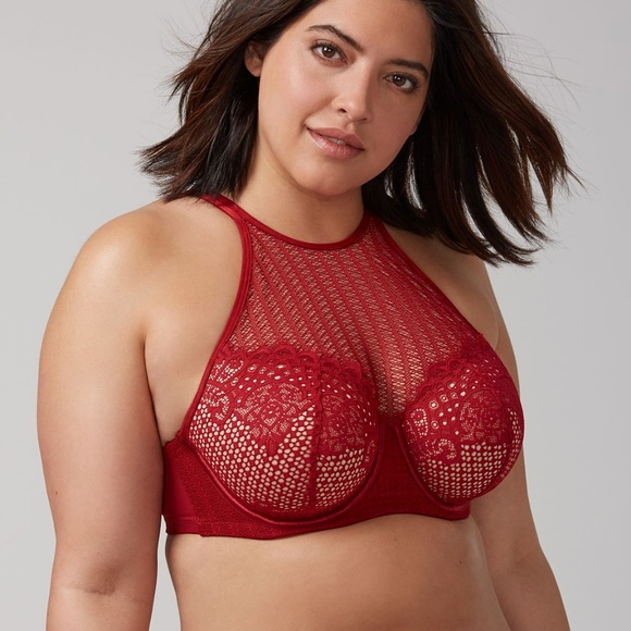 Cacique Other - Cacique red lace high neck bra